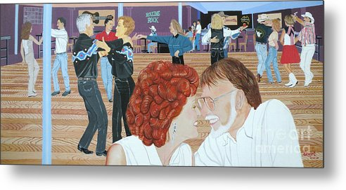 Dance Metal Print featuring the painting Guitars And Cadillacs Omaha by Christine Belt