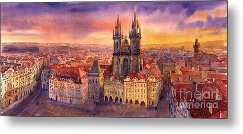 Watercolour Metal Print featuring the painting Prague Old Town Square 02 by Yuriy Shevchuk