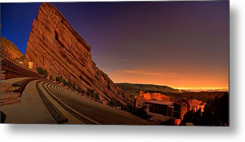 Night Metal Print featuring the photograph Red Rocks Amphitheatre At Night by James O Thompson