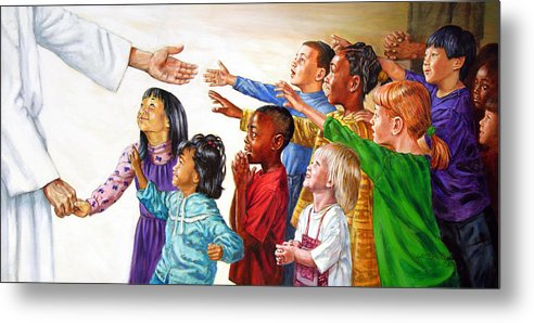 Jesus Metal Print featuring the painting Children Coming To Jesus by John Lautermilch