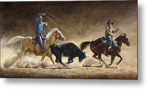 Cowboy Metal Print featuring the painting In The Money by Kim Lockman