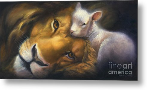 Lion And Lamb Metal Print featuring the painting Isaiah by Charice Cooper