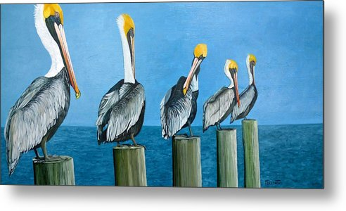 Pelican Metal Print featuring the painting Piling On by Jon Ferrentino