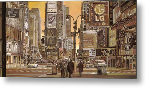 New York Metal Print featuring the painting Times Square by Guido Borelli