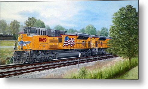 Art Metal Print featuring the painting Union Pacific 8690 by RB McGrath