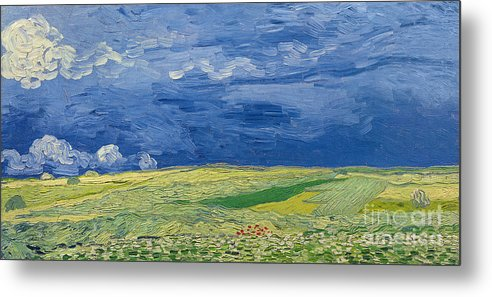 Field; Cloud; Sky; Landscape; Countryside; Post-impressionist; Auvers Sur Oise; French Metal Print featuring the painting Wheatfields Under Thunderclouds by Vincent Van Gogh