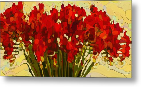 Red Bouquet Metal Print featuring the painting Red Bouquet by Dorinda K Skains