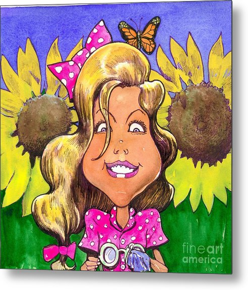 Kids Metal Print featuring the painting Amelia In Sunflowers by Robert Myers