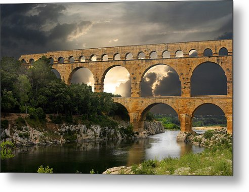 Bridge Metal Print featuring the photograph Roman Pont Du Gard by Carver Kearney