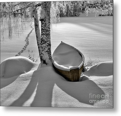 Rowboat Metal Print featuring the photograph Bath And Snowy Rowboat by Ari Salmela