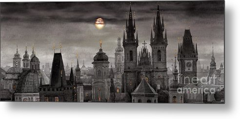 Cityscape Metal Print featuring the painting Bw Prague City Of Hundres Spiers by Yuriy Shevchuk
