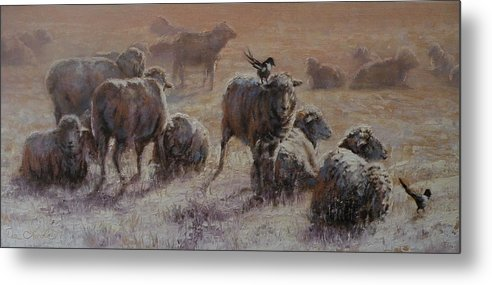 Sheep Metal Print featuring the painting Frosty Morning by Mia DeLode