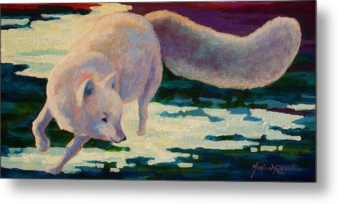 Arctic Metal Print featuring the painting Arctic Fox by Marion Rose