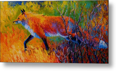 Red Fox Metal Print featuring the painting Foxy - Red Fox by Marion Rose