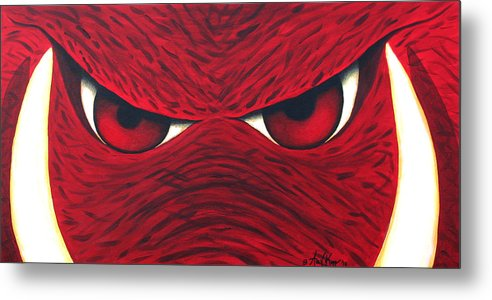 Arkansas Razorback Metal Print featuring the painting Hog Eyes 2 by Amy Parker
