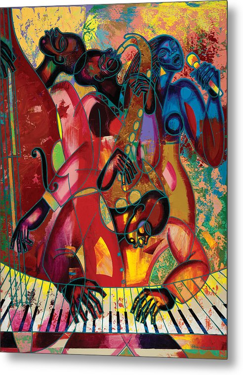 Figurative Metal Print featuring the painting Musicfest by Larry Poncho Brown
