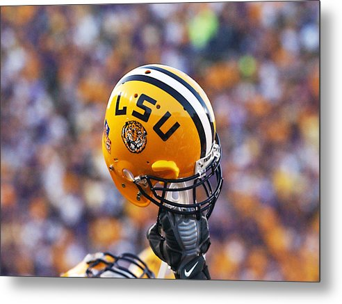 Lsu Metal Print featuring the photograph Lsu Helmet Raised High by Louisiana State University