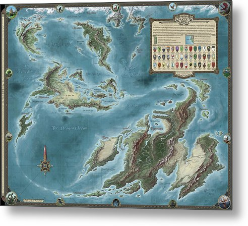 Fantasy Metal Print featuring the painting The Known World Of Skenth by Pieter Talens