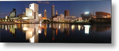 Cleveland Skyline Metal Print featuring the photograph Cleveland Skyline At Dusk by Jon Holiday