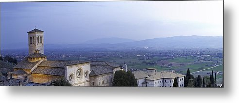 Italy Metal Print featuring the photograph Panoramic View Of Assisi At Night by Susan Schmitz