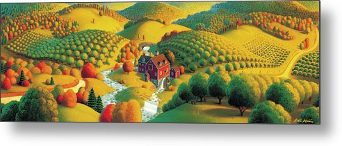 Fall Panorama Metal Print featuring the painting The Cider Mill by Robin Moline