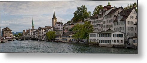 Color Image Metal Print featuring the photograph A Panorama View Of Zurich by Greg Dale