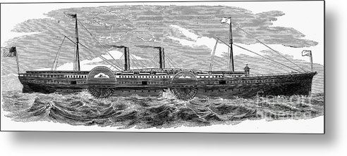1867 Metal Print featuring the photograph 4 Wheel Steamship, 1867 by Granger