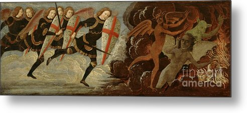 Michael Metal Print featuring the painting St. Michael And The Angels At War With The Devil by Domenico Ghirlandaio