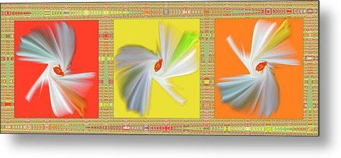 Abstract Metal Print featuring the digital art Dancing Flower Trio by Ben and Raisa Gertsberg