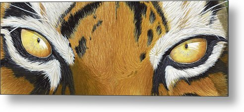 Tigers Eye Metal Print featuring the painting Tigers Eye by Laurie Bath