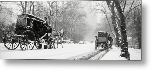 Weather Metal Print featuring the photograph Central Park In Falling Snow by Axiom Photographic