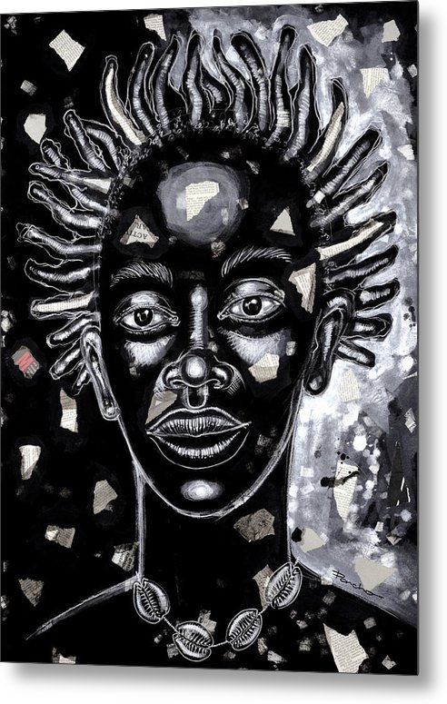 Figurative Metal Print featuring the painting If Only For One Nite by Larry Poncho Brown