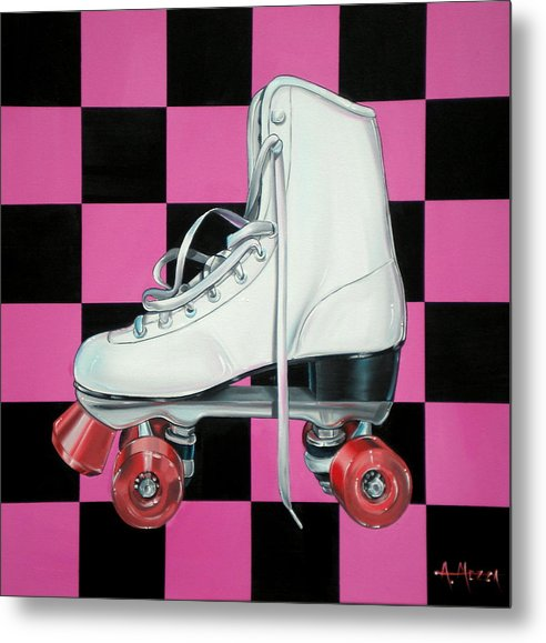 Roller Skate Metal Print featuring the painting Roller Skate by Anthony Mezza