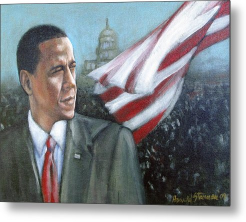 Barack Obama;president;presidential;whitehouse;etc Metal Print featuring the painting Barack Obama by Howard Stroman