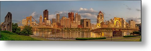 Pittbsurgh Metal Print featuring the photograph Evening Panorama by Jennifer Grover