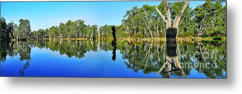 Photography Metal Print featuring the photograph River Panorama And Reflections by Kaye Menner