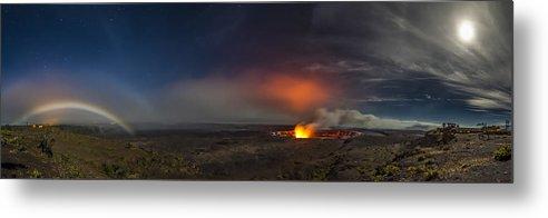 Panoramic Landscape Hawaii Nature Nikon Lava Moon Bows Lunar Halos Kilauea Sean King Metal Print featuring the photograph Moon Bows Lava Glows And Halos by Sean King