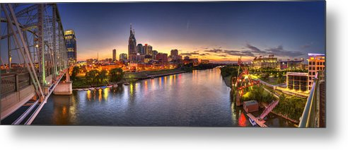 Pano Metal Print featuring the photograph Nashville Skyline Panorama by Brett Engle