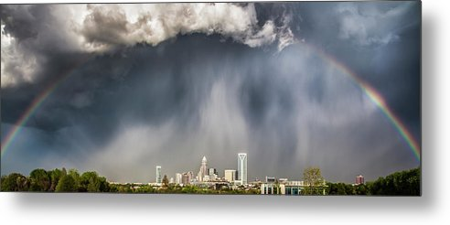 Rainbow Metal Print featuring the photograph Rainbow Over Charlotte by Chris Austin