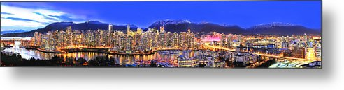 Vancouver Skyline Panorama Metal Print featuring the photograph Vancouver Skyline Panorama by Wesley Allen Shaw
