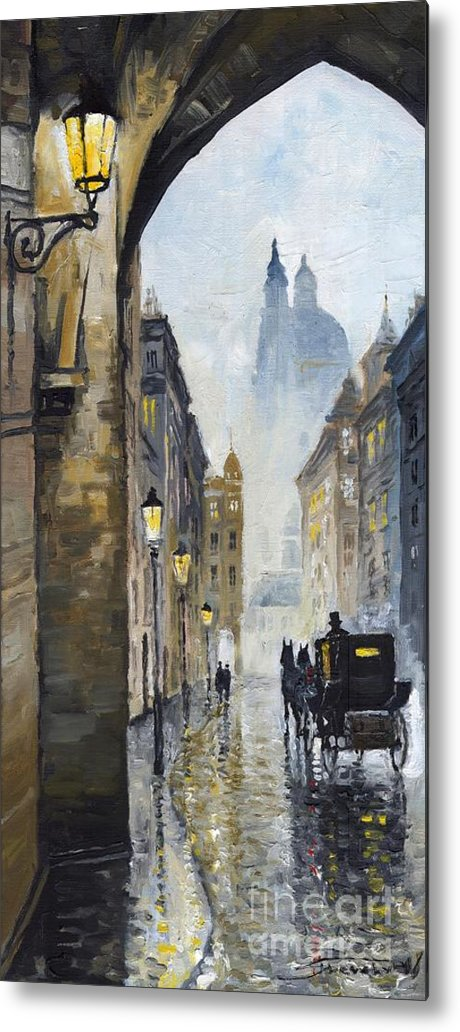 Prague Metal Print featuring the painting Prague Old Street 01 by Yuriy Shevchuk