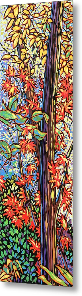 Red Metal Print featuring the painting Tree Long by Nadi Spencer