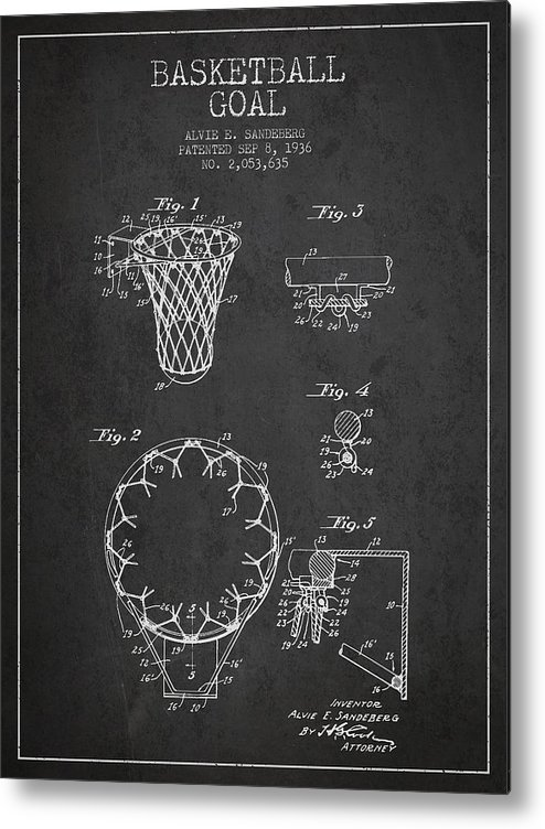 Hoop Patent Metal Print featuring the drawing Vintage Basketball Goal Patent From 1936 by Aged Pixel