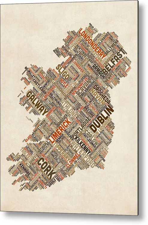 Ireland Map Metal Print featuring the digital art Ireland Eire City Text Map by Michael Tompsett