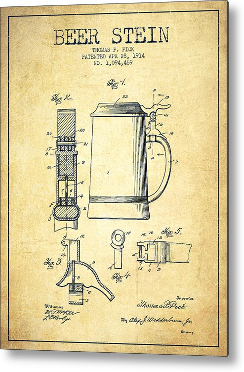 Beer Mug Metal Print featuring the drawing Beer Stein Patent From 1914 -vintage by Aged Pixel