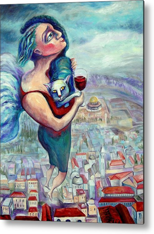Judaic Metal Print featuring the painting Blessing Over The Wine by Elisheva Nesis