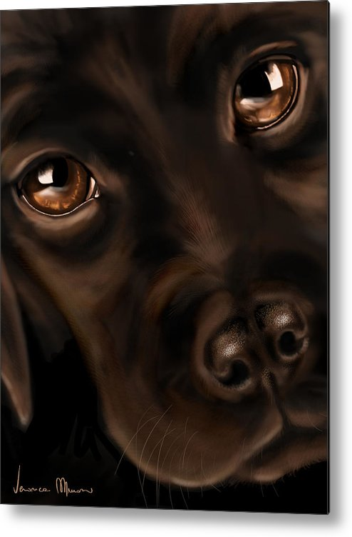 Digital Metal Print featuring the painting Eyes by Veronica Minozzi