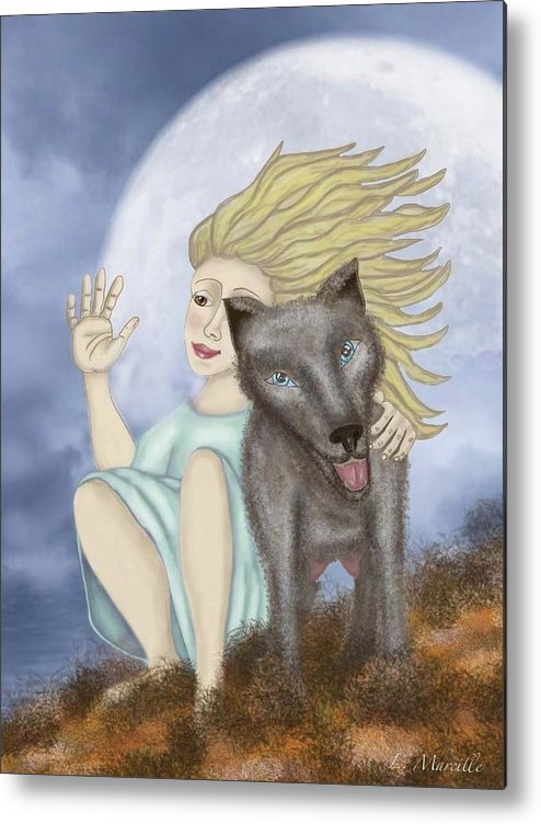 Full Moon Metal Print featuring the painting Farewell The Journey Begins by Linda Marcille