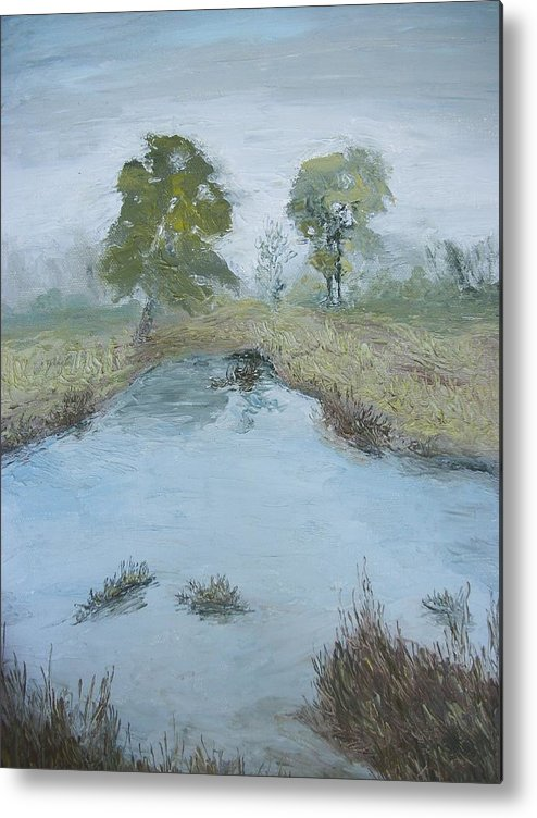 Pond Metal Print featuring the painting Farm Pond by Dwayne Gresham
