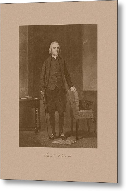 Samuel Adams Metal Print featuring the drawing Founding Father Samuel Adams by War Is Hell Store